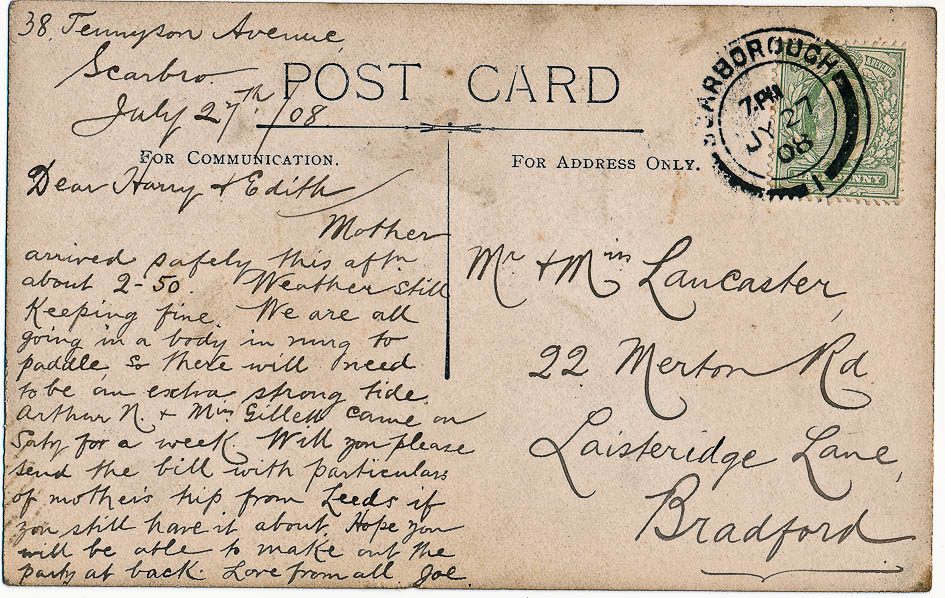 Joe's 1908 post card