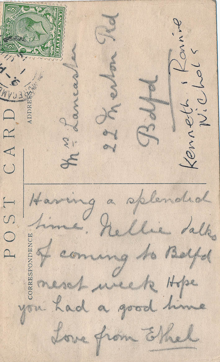 Post card from Ethel Lancaster