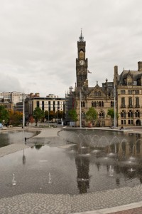 City Hall Bradford across the 'puddle'